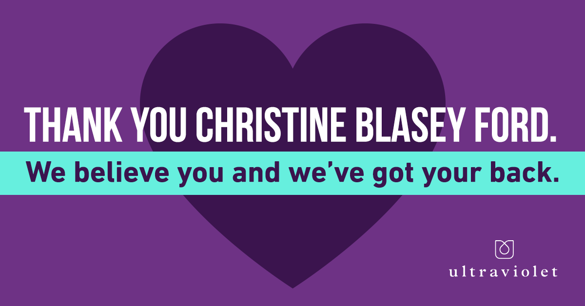 The image is a thank you card to Christine Blasey Ford
