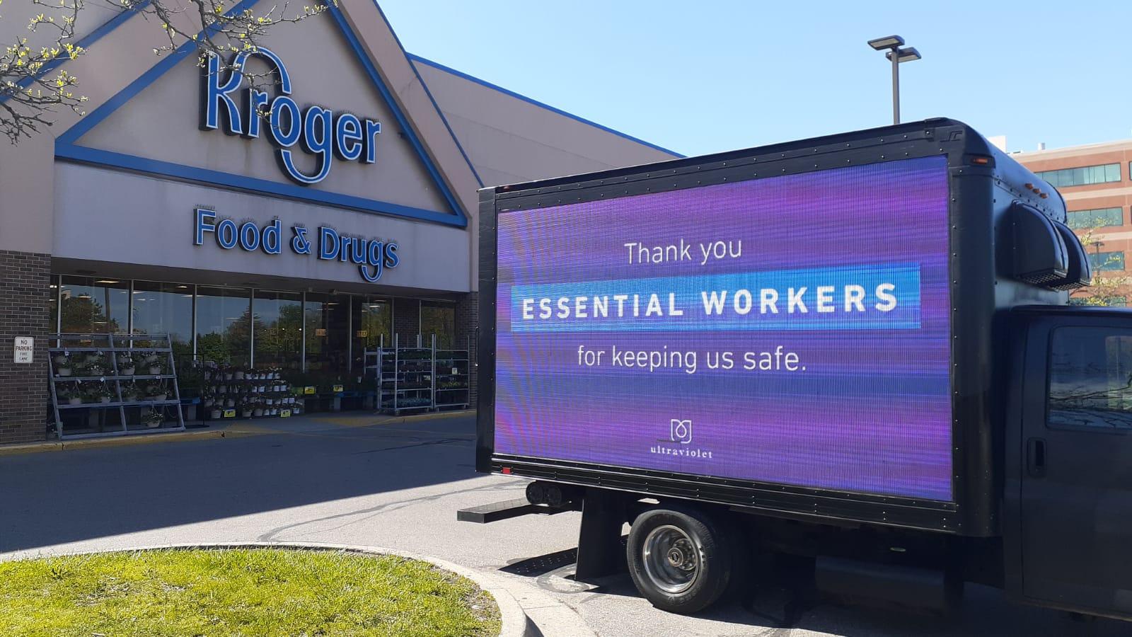billboard thanking Kroger workers