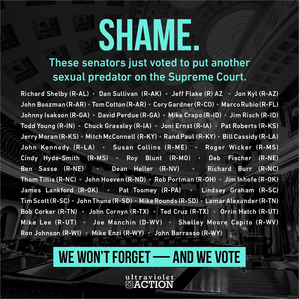 The list of senators who confirmed Kavanaugh